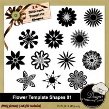 Flower Shapes TEMPLATES 01 by Boop Designs