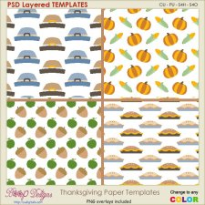 Thanksgiving Pattern PAPER Layered TEMPLATES