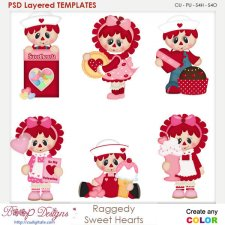 Raggedy Sweet Valentine Hearts Layered Element Templates
