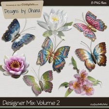 CU Mix 2 - Butterfly & Flowers - EXCLUSIVE Designs by Ohana