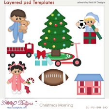 Christmas Morning Layered Template COMBO Set