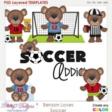 Benson Loves Soccer Layered Element Templates