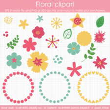 Floral clipart templates Lilmade Designs