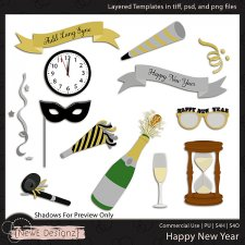 EXCLUSIVE Layered Happy New Year Templates by NewE Designz