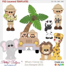 When I Grow Up Zookeeper Layered Element Templates