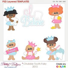 Chubbie Baby Tooth Fairy Layered Element Templates