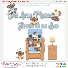 Three Little Monkeys Jumping On the Bed Layered Element Templates