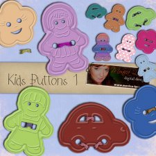 Kids Buttons vol 1 - action by Monica Larsen