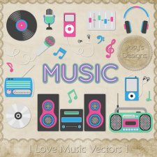 I Love Music Layered Vector Templates 1 by Josy