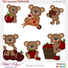 Apple of My Eye Bear Layered Element Templates