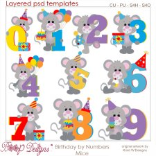Birthday by Numbers Mice Layered Template COMBO Set