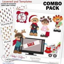 Black Friday Holiday Shoppers Layered Template COMBO Pack