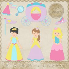 Fairy Tale Princess Layered Vector Templates by Josy