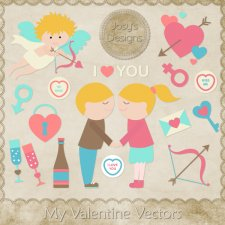 My Valentine Love Vector Template by Josy