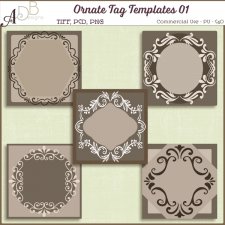 Ornate Tag Templates 01 by ADB Designs