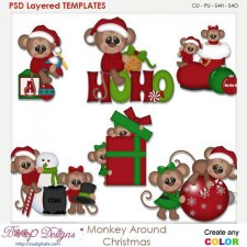 Monkey Around Christmas Layered Element Templates