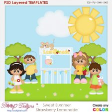 Sweet Summer Strawberry Lemonade Layered Element Templates