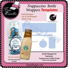 Frappuccino Bottle Wrapper TEMPLATE by Boop Printables