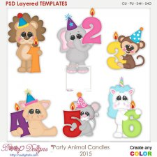 Party Animal Candles 1-6 Layered Element Templates