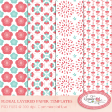 Floral paper templates overlays Lilmade Designs