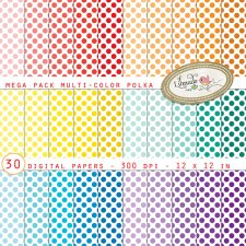 Multicolor Polkas Digital Papers Mega PackLilmade Designs