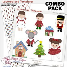 Nutcracker Christmas Layered Template COMBO Set