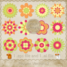 Flower Layered Vector Templates 2 by Josy