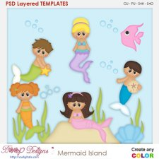 Mermaid Island Layered Element Templates