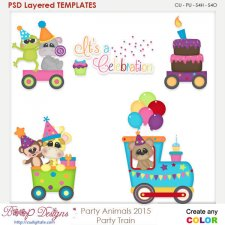 Party Animals Party Train Layered Element Templates
