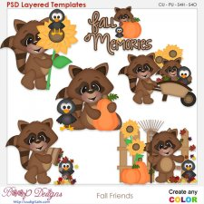 Fall Racoon Friends Element Templates