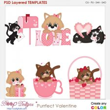Purrfect Valentine kittys Layered Element Templates