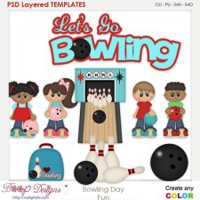 Bowling Day Fun Layered Element Templates