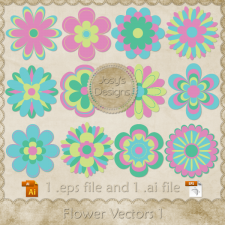 Flower Layered Vector Templates 1 by Josy