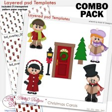 Christmas Carols Layered Templates COMBO Set