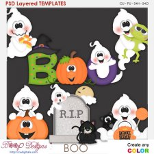 Boo Ghostly Halloween Element Templates