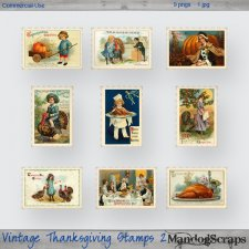 Vintage Thanksgiving Stamps 2 by Mandog Scraps