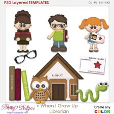 When I Grow Up Librarian Layered Element Templates