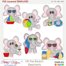 Hit the Beach Elephants Layered Element Templates