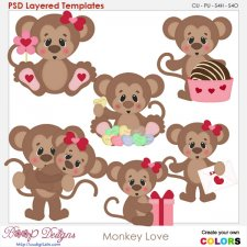Monkey Love Layered Element Templates