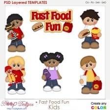 Fast Food Fun Kids Layered Element Templates