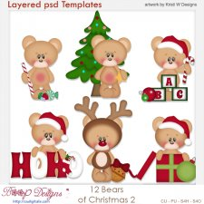 12 Bears of Christmas Set 2 Layered Template COMBO Set