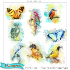 Pack 100 water color animals by Kastagnette