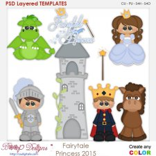 Fairy Tale Princess Layered Element Templates
