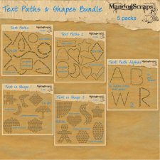 Text Paths and Shapes Bundle by Mandog Scraps
