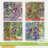 Papers - Painted Flowers 1-4