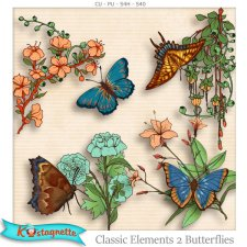 Classic Elements 2 Butterflies by Kastagnette