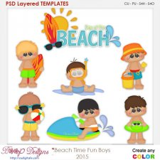 Beach Time Fun Boys Layered Element Templates