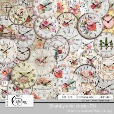Shabby-chic clocks by Cajoline-Scrap