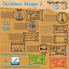 Christmas Stamps 2 and Brushes by Mandog Scraps