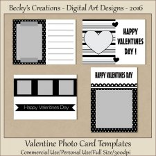 Valentine Photo Card Templates PSD-PNG by Beckys Creations